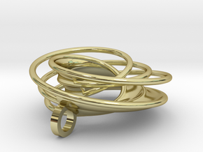 Twin Rail Mobius Pendant - small in 18K Gold Plated