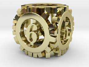 Steampunk Gear d6 in 18K Gold Plated