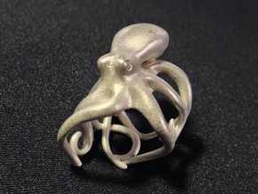 Octopus Ring 18mm in Natural Silver