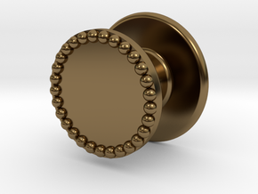 Button Flat Granulated in Polished Bronze