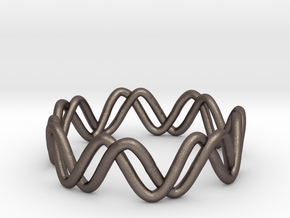 Sine + Cosine Ring (Size 7) in Polished Bronzed Silver Steel