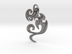 Abstract Pendant 'Waves and Fins'  in Polished Nickel Steel