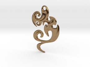 Abstract Pendant 'Waves and Fins'  in Natural Brass
