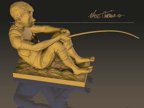 Fishing Boy in Natural Sandstone