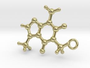 Caffeine Molecule Earring / Pendant Silver in 18K Gold Plated