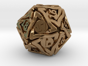 'Twined' Dice D20 MTG Spindown Life Counter Die 32 in Natural Brass
