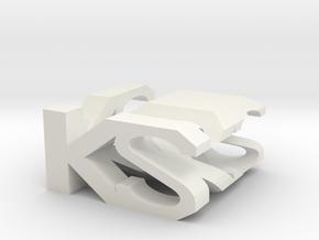 KS Monogram Cube in White Natural Versatile Plastic