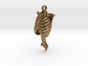 Rib Cage Pendant in Natural Brass