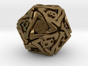 'Twined' Dice D20 Gaming Die (24 mm) in Natural Bronze