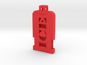 Emergency Contact Key Chain/Pendant Shell in Red Processed Versatile Plastic