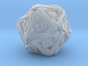'Twined' Dice D20 Gaming Die (24 mm) in Smooth Fine Detail Plastic