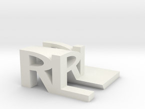 RL Monogram Cube in White Natural Versatile Plastic