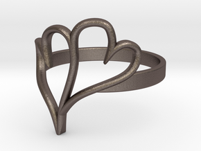 Double Heart Ring (Sz 6) in Polished Bronzed Silver Steel