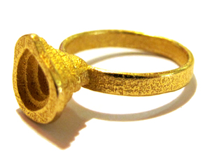 Gold Mine Ring - UK L (inside diameter 16.31mm) in Polished Gold Steel