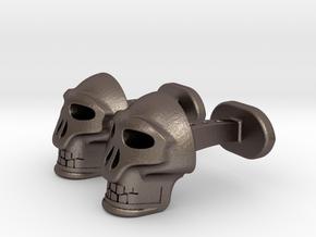 Skull Cufflinks in Polished Bronzed Silver Steel