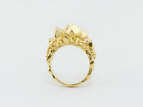 Crystal Ring Size 8 in 14k Gold Plated Brass