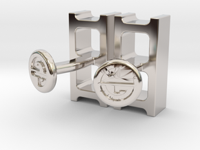 Cinderblock Cufflinks in Rhodium Plated Brass