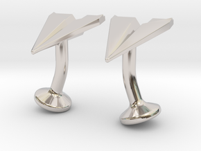 Paper Airplane Cufflinks in Rhodium Plated Brass