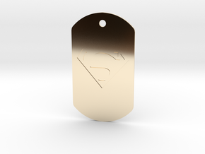 jor-el kandorian dog tag double sided in 14k Gold Plated Brass