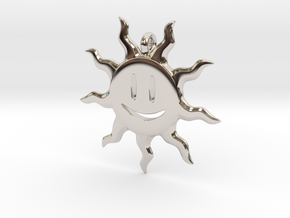 Smiling sun pendant in Rhodium Plated Brass