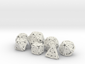 'Twined' Dice Gaming Die Set +10D10/Decader 7 dice in White Natural Versatile Plastic