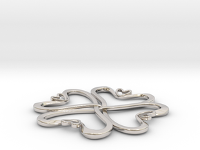 Hearts knot in Rhodium Plated Brass