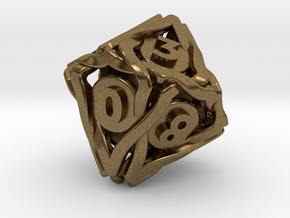'Twined' Dice D10 Gaming Die (18 mm) in Natural Bronze