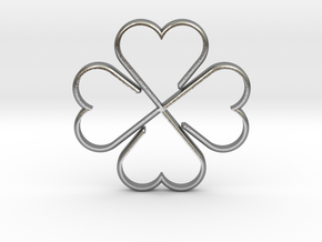 Clover Heart Necklace Pendant in Natural Silver