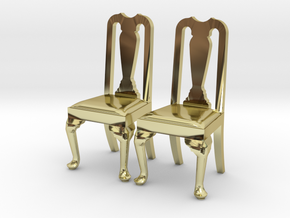 Pair of 1:48 Queen Anne Chairs in 18K Gold Plated