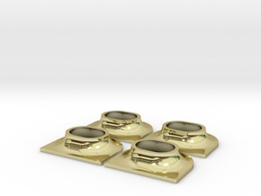 Ship Panama Chocks Type AC Deck Mounting 19x16x9mm in 18K Gold Plated