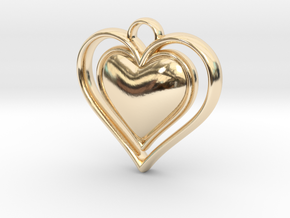 Framed Heart Pendant in 14k Gold Plated Brass