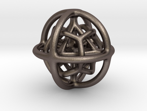 Gyroid 01 in Polished Bronzed Silver Steel