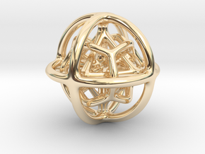 Gyroid 01 in 14k Gold Plated Brass