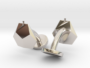 Asp mk II - Cufflinks (pair) in Rhodium Plated Brass
