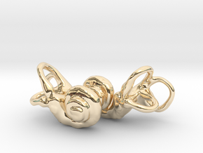 Inner Ear / Cochlea Earring Pair (left & right) in 14k Gold Plated Brass