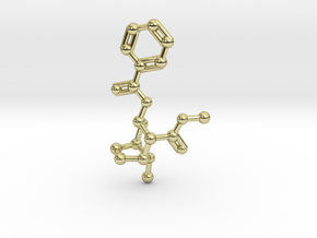 Cocaine Molecule Necklace Keychain in 18K Gold Plated