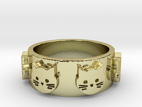 Ring of Seven Cats Ring Size 6.5 in 18K Gold Plated