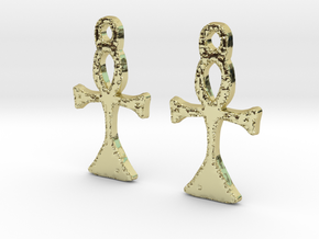 :Simple Ankh: Earrings in 18K Gold Plated