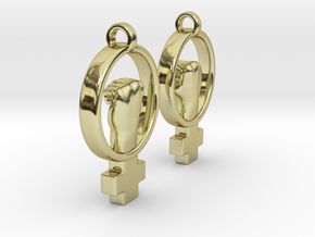 Womens Rights Symbol Earrings in 18K Gold Plated