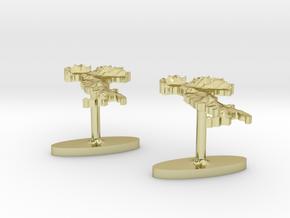 Italy Terrain Cufflink Pair - Flat in 18K Gold Plated