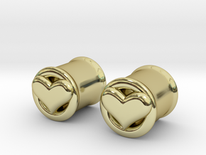 Heart 10mm (00 gauge) tunnels in 18K Gold Plated