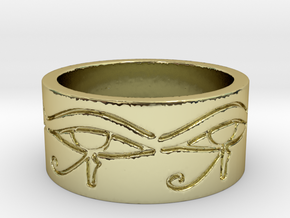 Egyptian Eye Of Horus Ring Size 7 in 18K Gold Plated