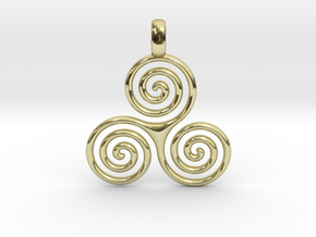 TRIPLE SPIRAL Minimal Symbol Jewelry Pendant  in 18K Gold Plated