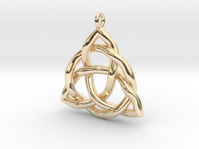 Triquetra Pendant or Trinity Knot Pendant in 14k Gold Plated Brass