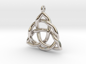 Triquetra Pendant or Trinity Knot Pendant in Rhodium Plated Brass