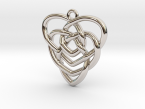 Mother's Knot Pendant in Rhodium Plated Brass: Medium