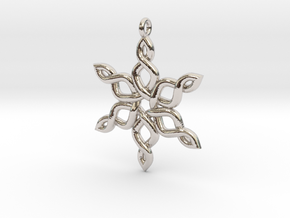 Snowflake Pendant 30mm in Rhodium Plated Brass: Medium