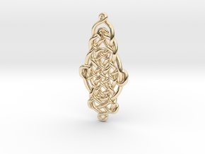 Raindrop Celtic Knot Pendant 40mm in 14k Gold Plated Brass