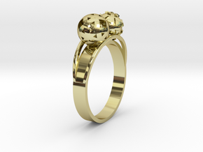 Diam=17. Bague Toi Et Moi. Ring Duo Sphere. in 18K Gold Plated