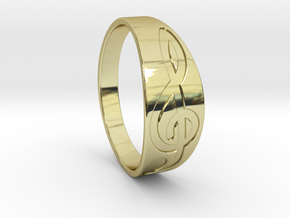 Size 8 M G-Clef Ring Engraved in 18K Gold Plated